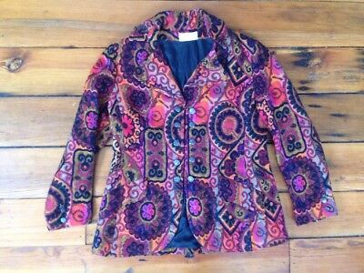 Vtg 70s Saks Fifth Ave Pewter Button Military Brocade USA Union Made Coat S-M