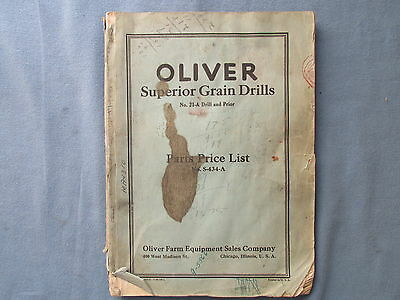 1936 Oliver Farm Equipment Parts Price List for Grain Drills No. 21-A and Prior