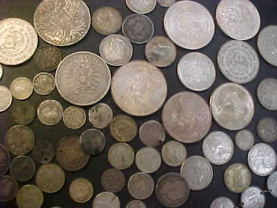 Mixed Foreign World Silver Coins Some  In 1800's Great Variety 450 Grams Silver