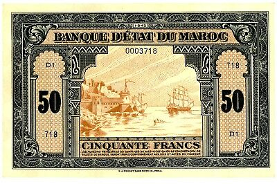 Morocco ... P-26 ... 50 Francs ...1943 ... Ch*XF*... Low serial #.