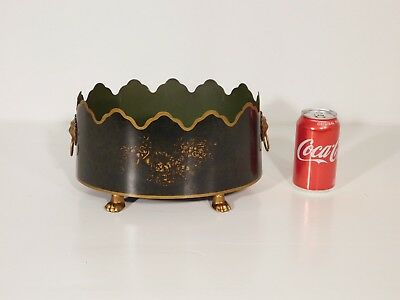 ANTIQUE Vintage Italian Tole Dark Green Claw Footed Lion's Face Cache Pot