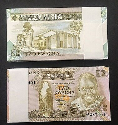 FULL PACK of 100 CONSECUTIVE 2 KWACHA PICK # 24c ZAMBIA (PAPER) NOTES of  1988