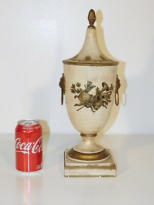 ANTIQUE Vintage Italian Tole Beige Shabby Claw Footed Lion's Face Chestnut Urn