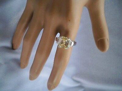 Yellow Princess Cut CZ with Clear Side Accents Silvertone Costume Ring Size 5.75