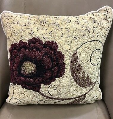 Pincushion Flower elegant Chenille accent Jacquard Woven Tapestry Pillow NEW