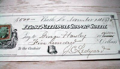 Harley and Ledyard names. on this 1875, Bath Maine  check, tax stamp