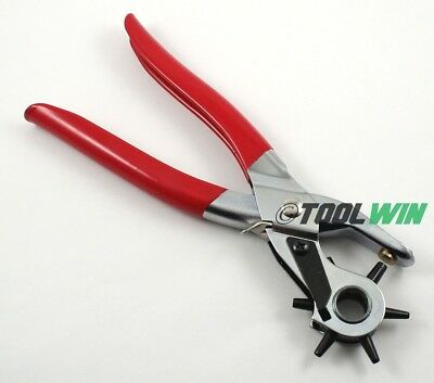 """6 Sized 9"""" Heavy Duty Leather Hole Punch Hand Pliers Belt Holes Punches"""