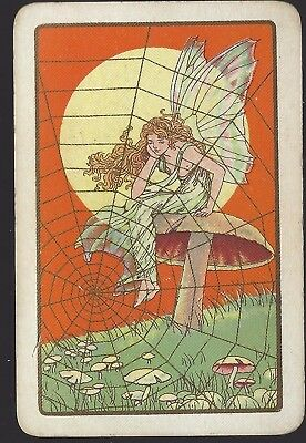 Swap Playing Vintage  Fairy on a Toadstool with spider Web