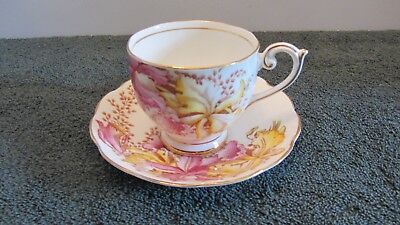 Hand Painted BELL Tea cup & Saucer ORCHIDS Pink & Yellow  England