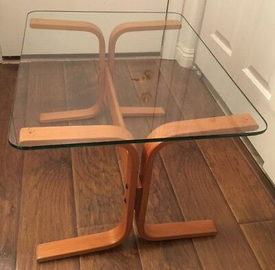 Westnofa Norway Mid Century Wooden Table With Glass Top -W/ Label