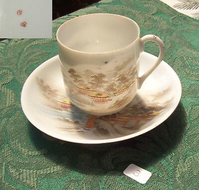 Nippon Eggshell Hand Painted Scenery Demi Cup & Saucer 1930's Era Signed