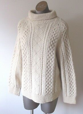 UNISEX Vintage Cream Cable Pullover Hand Knit Sweater - Mock Turtle Neck
