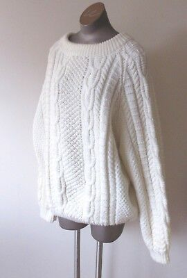 Unisex Vintage Hand Knit Cable Pullover Sweater Medium Weight