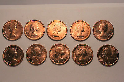 Ten Canadian One Cent Coins ! No Reserve ! Wow !