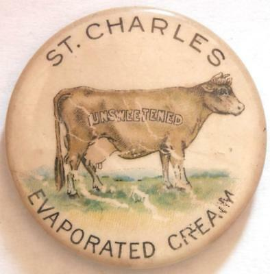 Early Celluloid St Charles Evaporated Cream Advertising Pin Tray22-14