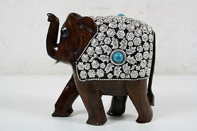 Vintage Hand Carved Wooden Elephant With Silver Jewels And Turquoise Cover