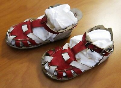Vintage 1950's Baby Sandal Red & White Leather Strappy Size 1 Shoe