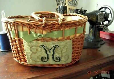 antique art craft SEWING BASKET needlepoint sampler monogrammed eml