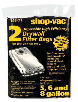 Shop-Vac  Wet/Dry Vac Drywall Filter Bag  5-8  2 pk For Dry Pick Up Only