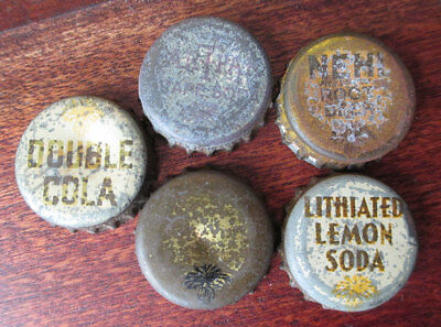 5 Cork Bottle Caps: NEHI Rootbeer ParTPak, Double Cola, Lithiated Lemon, SC Tax