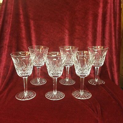 """Waterford Lismore Claret / Wine Goblets 5 7/8"""" Tall -  Set of 6"""