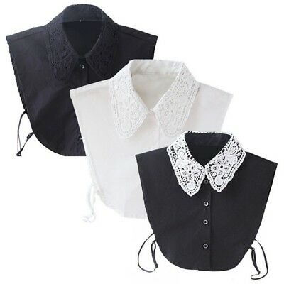 Women Vintage Dickie Lady Embroidery Lace Fashion Detachable False Collar New US