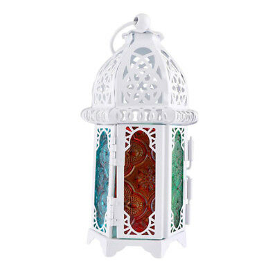 Tabletop Moroccan Iron Chandelier Glass Votive Tea Light Candle Holder White