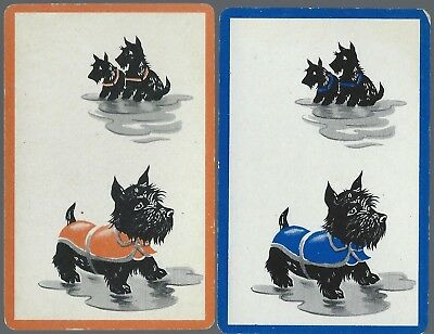 Swap Playing Vintage Cards   Dogs  Orange & Blue Borders