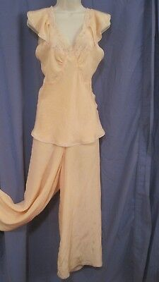 small vintage 1930s 2-PIECE PEACH SILK LOUNGING PAJAMAS palazzo pant lingerie
