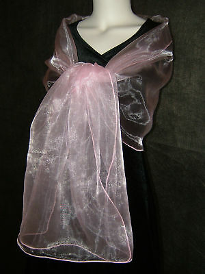 Stunning PINK Organza Shawl, Stole, Wrap 19'x78'' NEW UK
