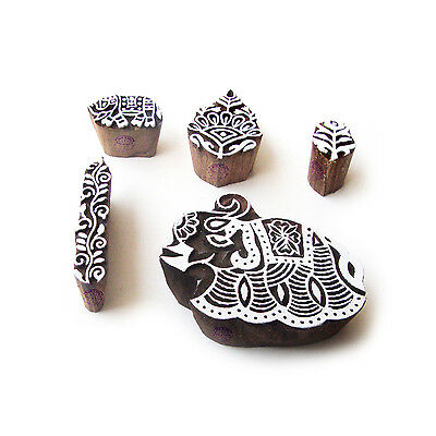 Elephant and Floral Indian Pattern Wood Block Print Stamps (Set of 5)