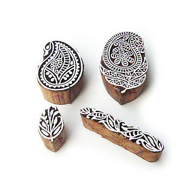 Paisley and Floral Indian Designs Wooden Block Stamps (Set of 4)