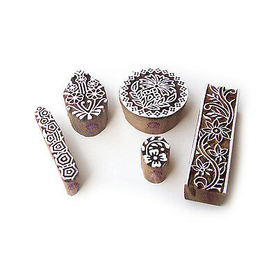Assorted and Floral Handmade Pattern Wood Block Print Stamps (Set of 5)