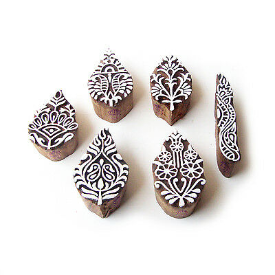 Leaf and Border Traditional Pattern Wood Block Print Stamps (Set of 6)