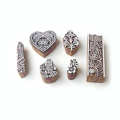 Heart and Ganesha Exclusive Pattern Wood Block Print Stamps (Set of 6)