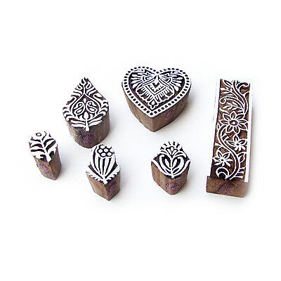 Heart and Flower Ethnic Designs Wooden Block Stamps (Set of 6)