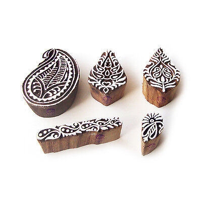 Paisley and Leaf Traditional Designs Wooden Block Stamps (Set of 5)