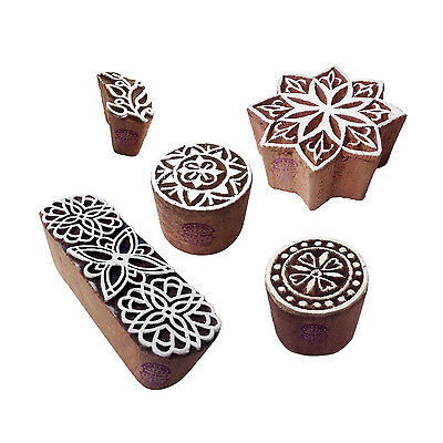 Artisan Shapes Floral and Round Wood Block Print Stamps (Set of 5)