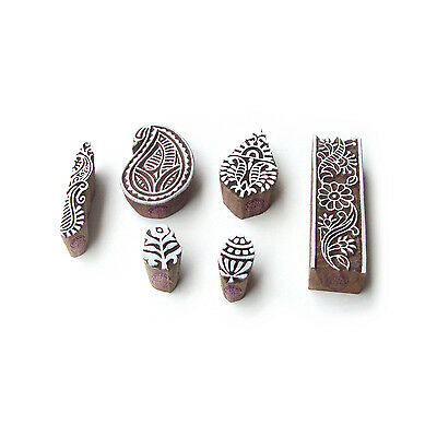 Leaf and Paisley Contemporary Motif Block Print Wood Stamps (Set of 6)