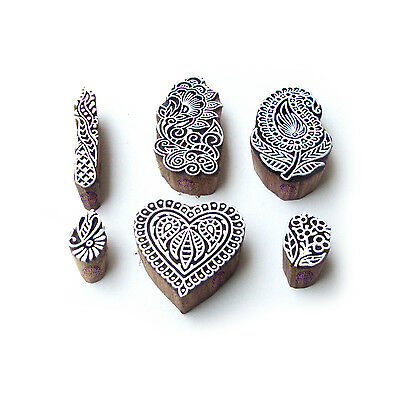 Heart and Paisley Exclusive Pattern Wood Block Print Stamps (Set of 6)