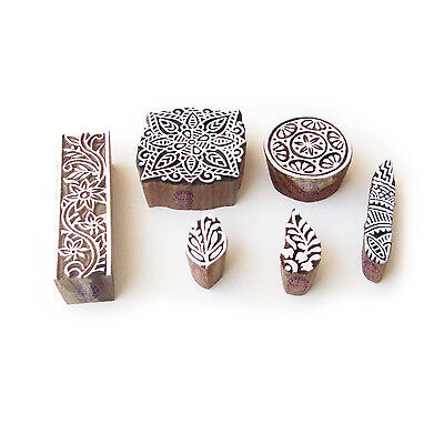 Assorted and Floral Hand Made Pattern Wood Block Print Stamps (Set of 6)