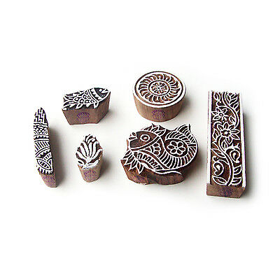 Fish and Border Contemporary Designs Wooden Block Stamps (Set of 6)