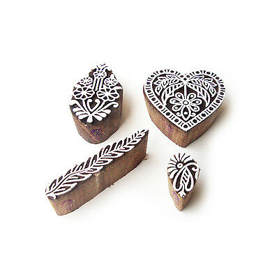 Heart and Floral Hand Crafted Motif Wood Block Stamps (Set of 4)