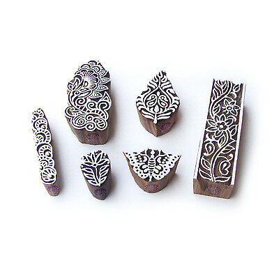Butterfly and Floral Jaipuri Motif Wood Block Stamps (Set of 6)