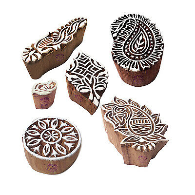 Decorative Pattern Paisley and Finger Wood Block Stamps (Set of 6)
