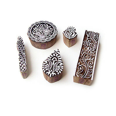 Assorted and Floral Asian Motif Wood Block Stamps (Set of 5)