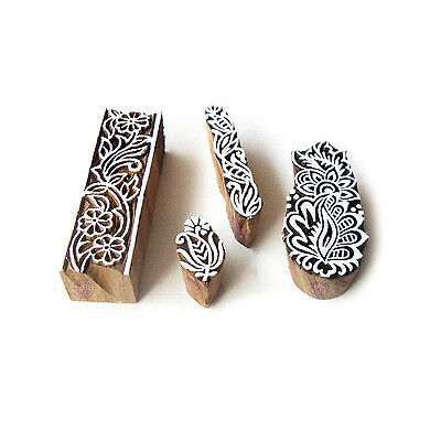 Border and Floral Artistic Pattern Wood Block Print Stamps (Set of 4)