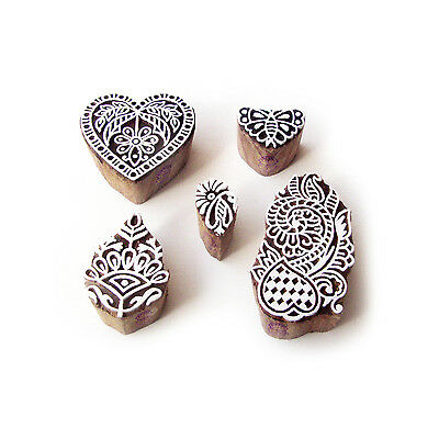 Butterfly and Heart Asian Designs Wooden Block Stamps (Set of 5)
