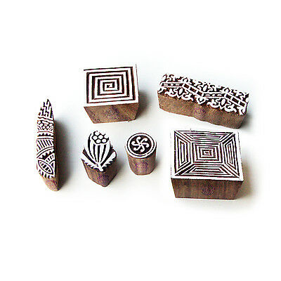 Geometric and Spiral Asian Designs Wooden Block Stamps (Set of 6)