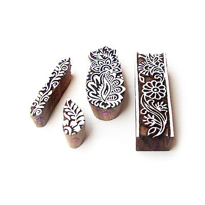 Border and Assorted Artistic Designs Wooden Block Stamps (Set of 4)